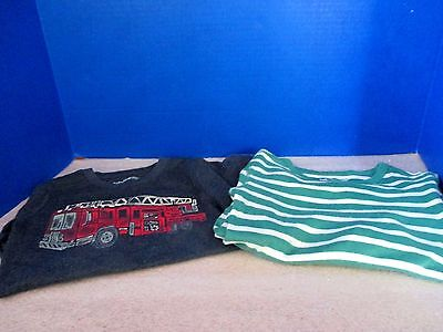 BABY GAP~Lot of 2 LONG SLEEVED TEE SHIRTS~Fire Truck~Green Striped~Boys 3T