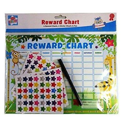 Anker 6 x Reward Charts Childrens Jungle Themed Behaviour/Chore Charts with Stic