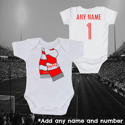 Manchester Inspired Football Scarf & Personalised Baby Grow Vest, Gift, United