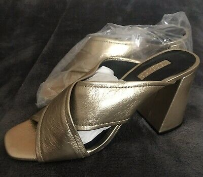 Top Shop Gold Heeled Slip On Shoes Size 8 Rrp £65