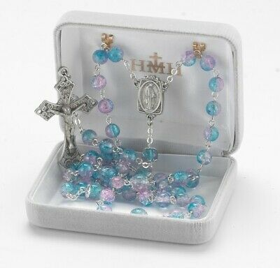 Aqua and Pink Crackle Glass Bead New England Pewter Rosary in Velvet Box