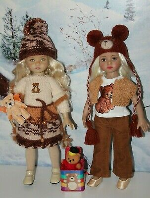 "2 Outfits FOR Dianna Effner 13"" Little Darling Dolls=BEARS Dress Pants Hat= NEW"