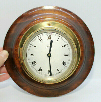 Ships Wall Clock Wood & Brass ** For Restoration**