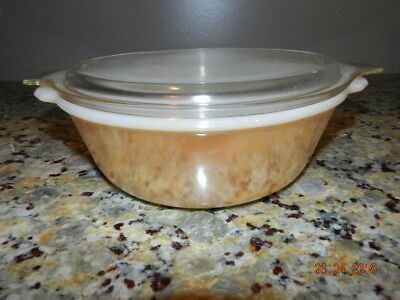Fire King Peach 2 QT Casserole Dish with Pyrex 475-C Cover/Lid