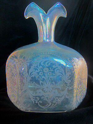 Antique very rare large crystal glass hand blown iridescent etched vase