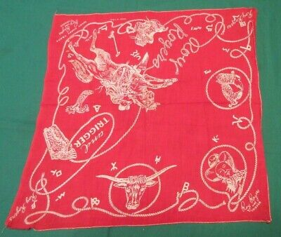 Vintage 1950'S ROY ROGERS Trigger Happy Trails Red Lasso Bandana Handkerchief