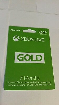 Microsoft 3 Month Xbox Live Gold Subscription  quick code Delivery
