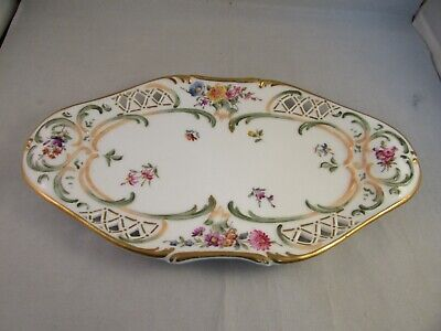 Antique Royal Copenhagen 1894 Stamp Saxon Flowers Reticulated Tray Handled Dish