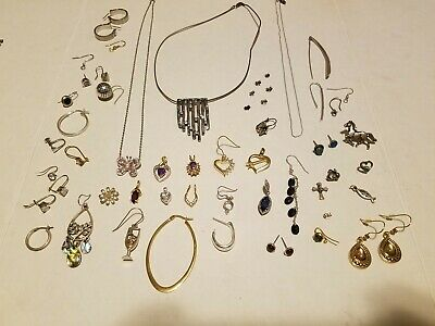 MIXED LOT OF STERLING SILVER JEWELRY-Wear & Scrap 87.2 Grams READ