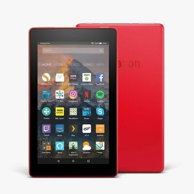 """Amazon Kindle Fire 7"""" Tablet 8GB Wi-Fi with Alexa, (7th Gen) - BLACK   RED"""