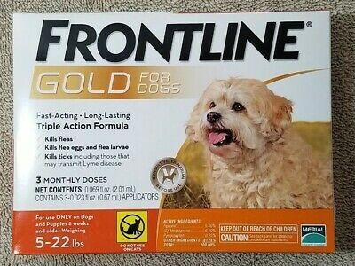 Frontline Gold for Small Dogs 5 - 22 lbs box of 3 doses flea & tick prevention