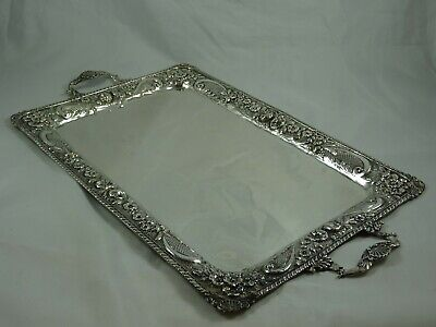 PRETTY , solid silver TRAY,  1148gm
