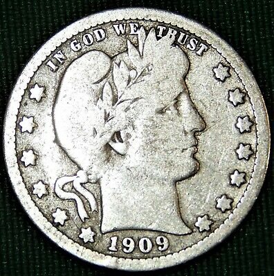 1909 Barber Or Liberty Head Quarter Dollar, 90% Silver
