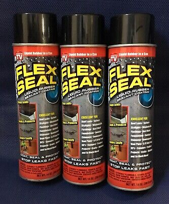 Spray Rubber Seal >> 3 Pk Flex Seal Spray Black Liquid Rubber Sealant Coating Stop Leak Wet Dry 14oz