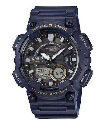 Casio AEQ110W-2AV World Time Telememo Men's Wristwatch