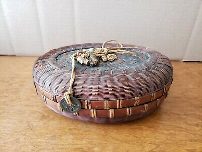 "Vintage Chinese Woven Wicker Rattan 8.25"" Lidded Basket"