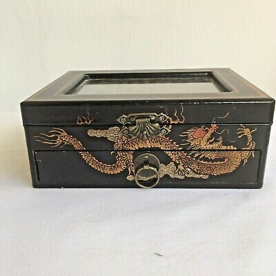 Chest Chinese Art Trinket Jewellery Box With Drawer Hand Painted Glass Top