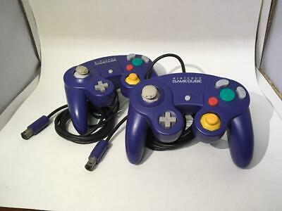 Nintendo GameCube Official Lot of 2 Controller Remote Purple