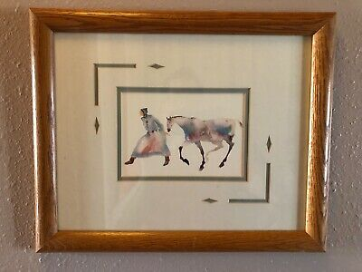 Framed Watercolor Print Carol Grigg First Nations Woman Pony art horse painting