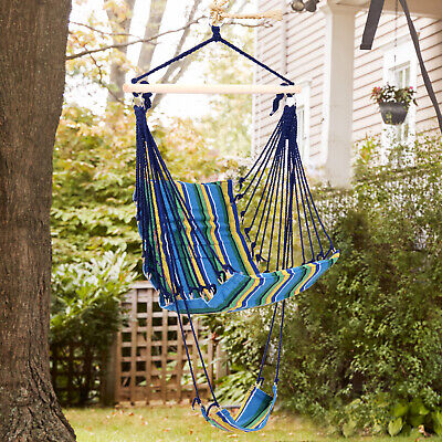 Outsunny Outdoor Portable Padded Wooden Hanging Hammock Swing Chair Blue