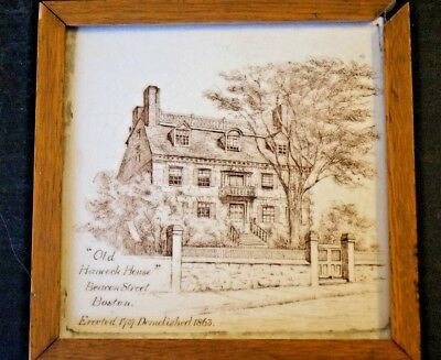 Antique MINTON China Works TILE   John Hancock's house in Boston  100 Years old!