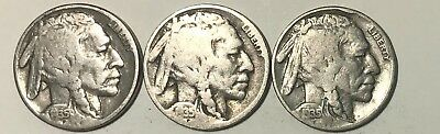 1935- P-D-S  Buffalo Nickels - Nice Grade Coins - L@@k At Pictures!!!!!  #3424