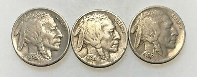 1936 - P & D & S  Buffalo Nickels  Great Circulated Condition     #2136