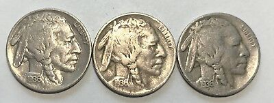 1936 - P & D & S  Buffalo Nickels  Great Circulated Condition     #2134