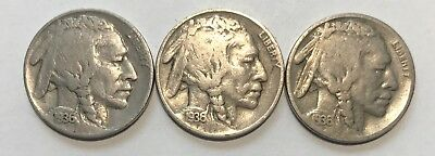 1936 - P & D & S  Buffalo Nickels  Great Circulated Condition     #2133