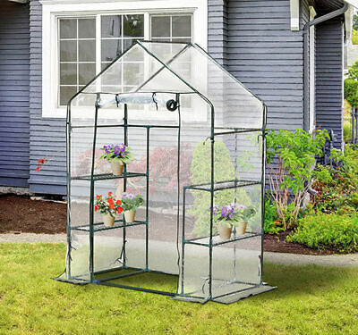 Outsunny 4 Shelves Portable Walk-In Greenhouse Flower Gardening Green House
