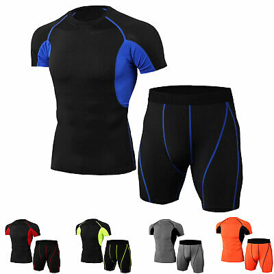 Mens Workout Tights Suit Compression Base Layers Dri fit Basketball Football Gym