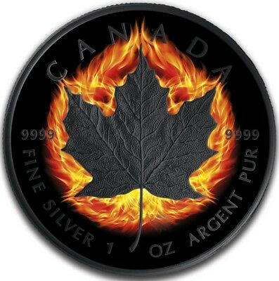 2018 1 Oz Silver $5 BURNING INCUSE CANADIAN MAPLE LEAF Ruthenium Coin.