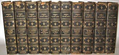LEATHER Antique Library Set; VICTOR HUGO's Works! Robert Louis Stevenson Binding