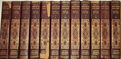 LEATHER Set;ABRAHAM LINCOLN! • NICOLAY & HAY President RARE 1st SPONSORS EDITION