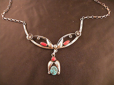 Vintage Native American, Navajo sterling, Coral & Turquoise necklace, unique