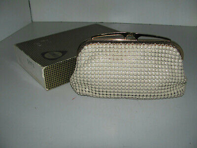 Vintage 70s Glomesh Cream Mesh Evening Clutch Bag With Box & Tag Looks Great