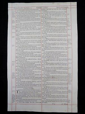 1680 Oxford First Folio King James Bible Leaf Proverbs 27:5-30:21 Page True Love
