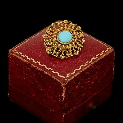 Antique Vintage Nouveau 18k Gold Etruscan Persian Turquoise Filigree Pin Brooch