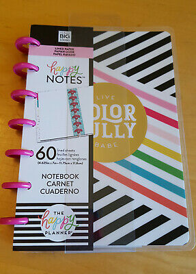 """NEW The Happy Planner """"Live Colorfully"""" Happy Notes mini lined sheets MAMBI"""