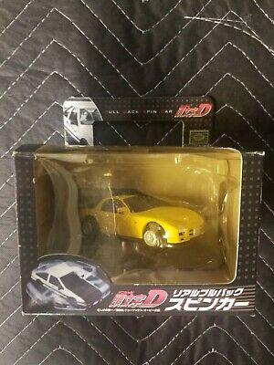 INITIAL D Mazda RX-7 FD3S Banpresto Red Suns Yellow Pull Back Spin Race Car