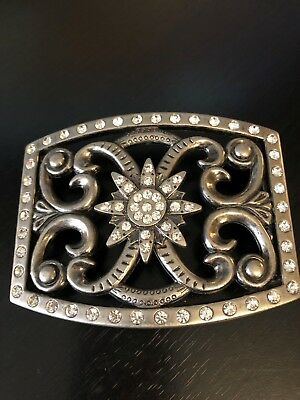 Rhinestone Belt Buckle See Through Very Different and Pretty Swirls Flower