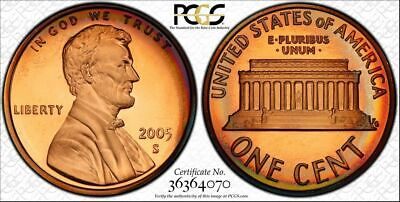2005 Lincoln Memorial Penny One Cent Pcgs Pr68Rb Color Toned None Graded Higher