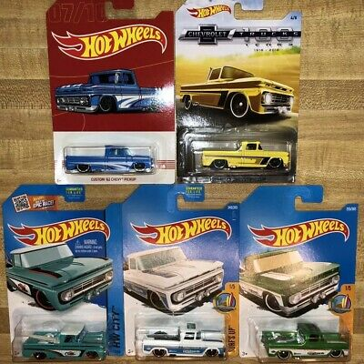 Hot Wheels Lot Of 5 Custom '62 Chevy Pickup White Blue Green Yellow Teal W/Surf