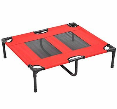 "PawHut D1-0146 31"" x 27"" Metal Frame Elevated Pet Bed Cot Dog Cat Camping Sleepe"