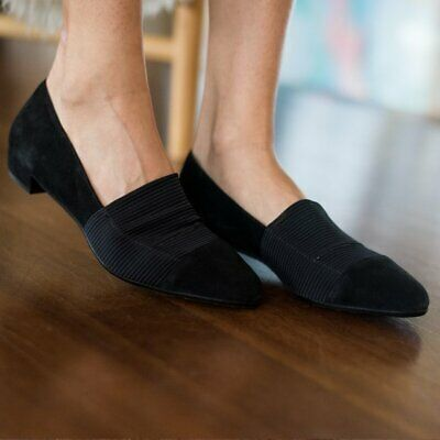 2d9ef1dab384  395 RON WHITE Helsa Black Suede Elastic Slip On Waterproof Loafer Flats 36  NEW