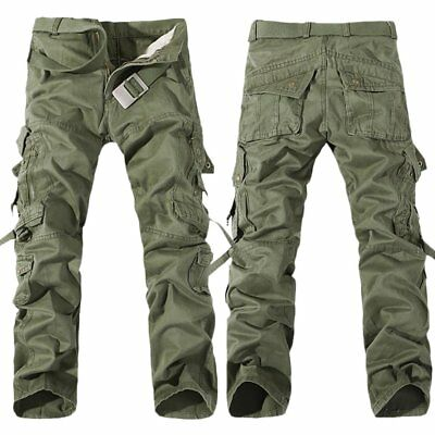 Mens Winter Fleece Lined Cargo Combat Work Pockets Long Pants Trousers PZ