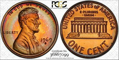 1969-S 1c LINCOLN MEMORIAL PENNY PCGS PR67RB CIRCLE TONED ONLY 3 HIGHER!