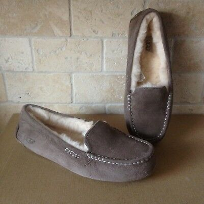7649f07bbe4 UGG AUSTRALIA ANSLEY Slate Suede Moccasin Slippers Slip On Shoes ...