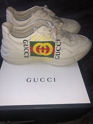 0cbccd1145b RHYTON GUCCI LOGO leather sneakers us 12   Gucci 11. men -  575.00 ...