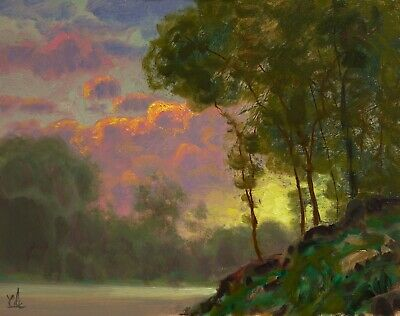 Oil Painting Original Landscape Western Art California Clouds Signed MAX COLE
